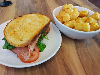 Bacon Sandwich and Tater Tots at Yavanna
