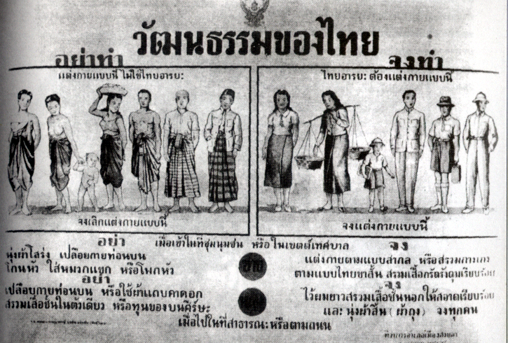 Thai poster from the cultural mandate era demonstrating prohibited dress on the left and proper dress on the right.