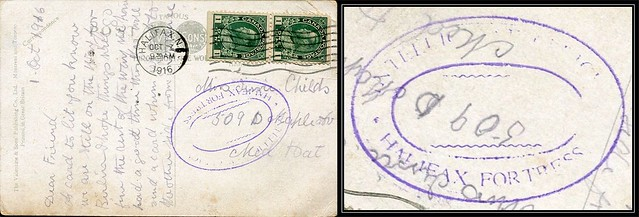 Nova Scotia Postal History / Halifax, N.S. Censored WWI Postcard - 2 October 1916 - INTELLIGENCE OFFICER / HALIFAX FORTRESS (double oval ring) to Medicine Hat, Alberta