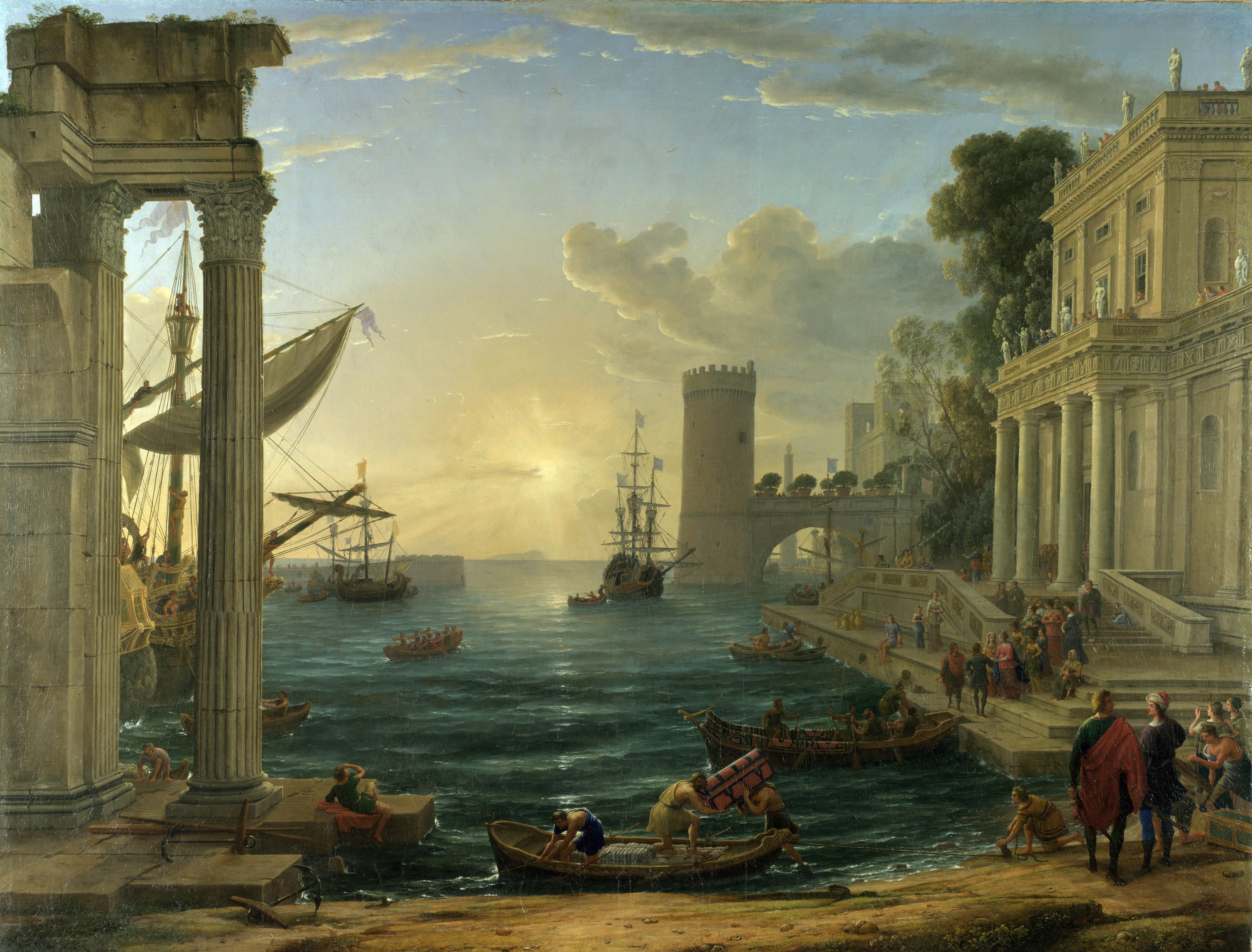 Seaport with the Embarkation of the Queen of Sheba is an oil painting by Claude Lorrain (born Claude Gellée, traditionally known as Claude), in the National Gallery, London, signed and dated 1648. The large oil on canvas painting was commissioned by Frédéric Maurice de La Tour d'Auvergne, Duc de Bouillon, general of the Papal army, together with Claude's Landscape with the Marriage of Isaac and Rebecca. It depicts the departure of the Queen of Sheba to visit King Solomon in Jerusalem, described in the tenth chapter of the First Book of Kings. A more usual subject would be their meeting; this is one of many harbor scenes painted by Claude. The Queen is departing from a city with classical buildings, with the early morning sun lighting the sea, as vessels are loaded.