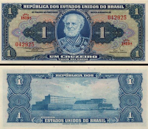 BRAZIL p150b 1 CRUZEIRO FROM 1954-600