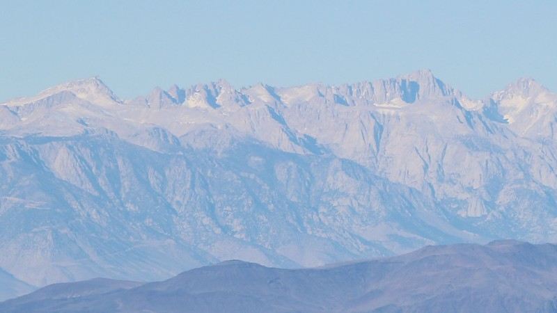 Zoomed-in view of Mount Langley (far left) and Mount Whitney (right of center) from the Telescope Peak Trail