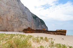 The Panagiotis is a shipwreck lying in the white sands of an exposed cove on the coast of Zakynthos