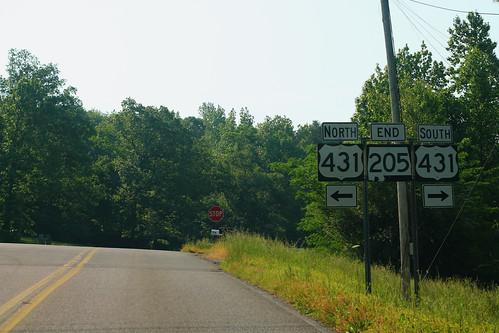 AL205 South End at US431 Signs