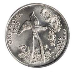 Oklahoma State Quarter reverse rotated