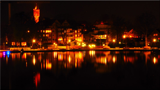 The bay of Eutin at night