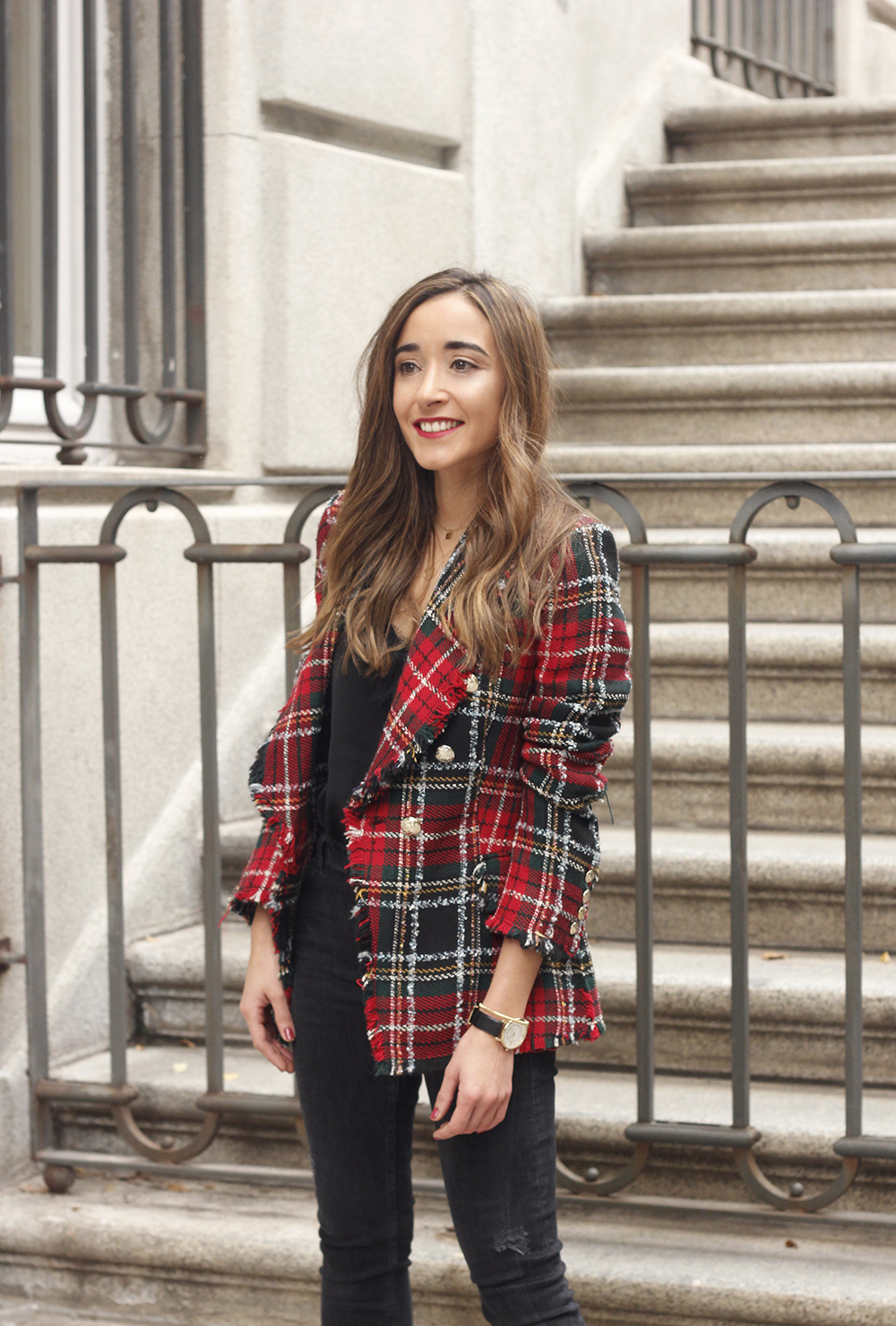 Tartan blazer black outfit heels givenchy bag street style fall outfit 20184159