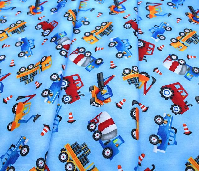 Henry Glass & Co., My Favorite Trucks 2206-17 Tossed allover Trucks Blue