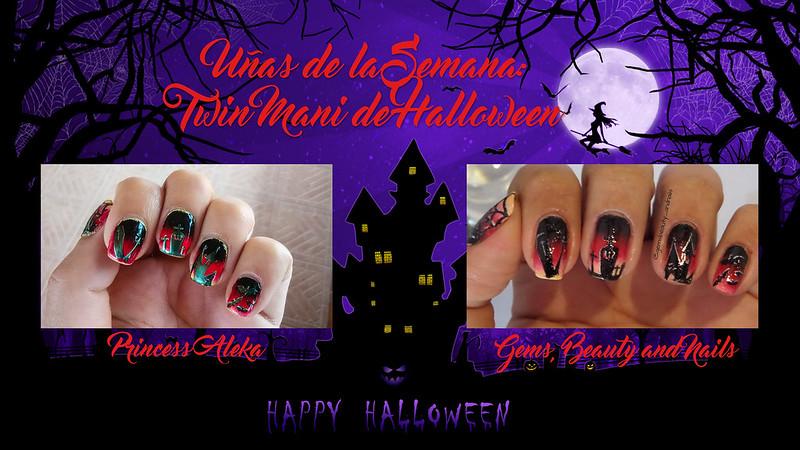Uñas de la Semana: Twin Mani de Halloween con Gems, Beauty and Nails