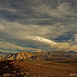 1. November 2018 - 16:58 - An afternoon image of the clouds hanging over the Panamint and Argus Mountain Ranges in Death Valley National Park.