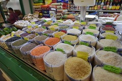 Risotto rice and lentils for sale at Rome indoor market Nuovo Mercato Esquilino