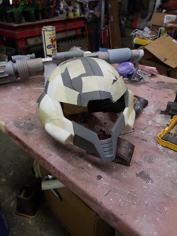 Printed Prototype Samus Helmet Rough Assembly
