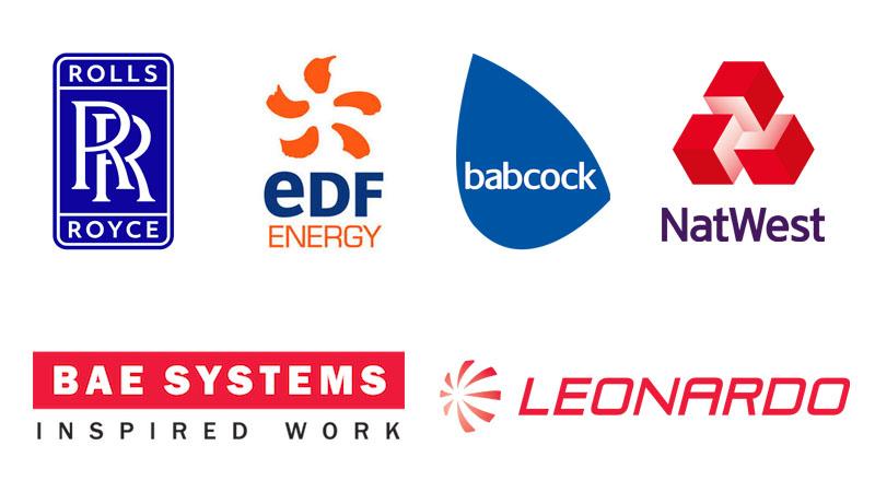 Company logos for EDF Energy, Babcock International, NatWest, BAE Systems, Leonardo and Rolls-Royce.