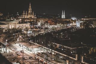 Image of Vienna Ring Tram. reise vienna ring wien strasse night nightshot nightphotography nikon d750 tram bim strassenbahn wienerlinien rathaus parlament votivkirche volksgarten burgtheater