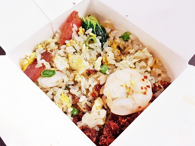 Egg Fried Rice With Seasoned Prawns And Chicken Chinese Sausage, Nai Bai Milk Cabbage