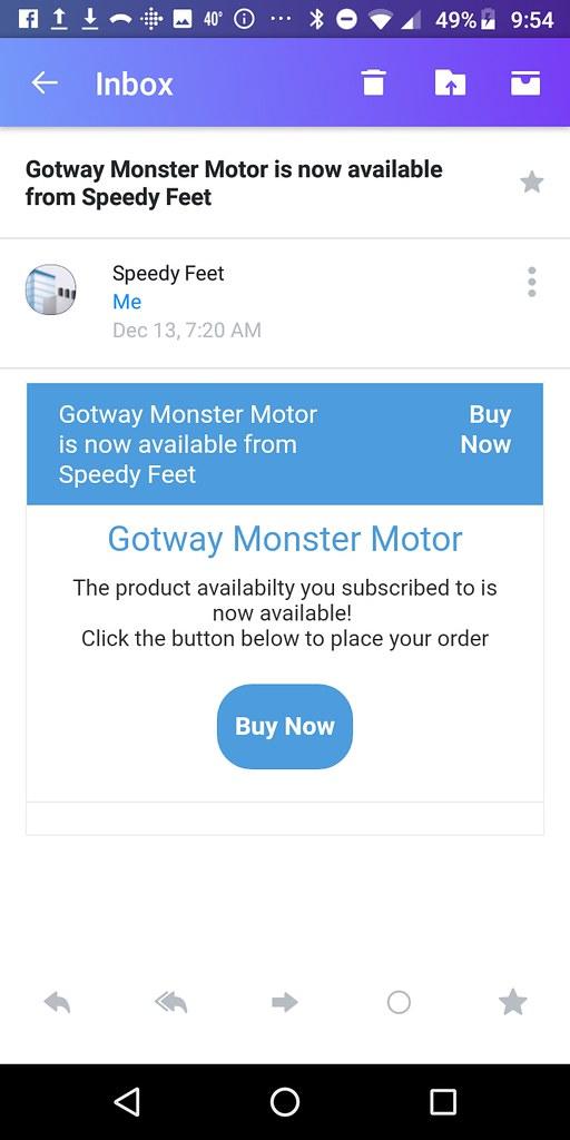 SpeedyFeet email about Gotway Monster motor