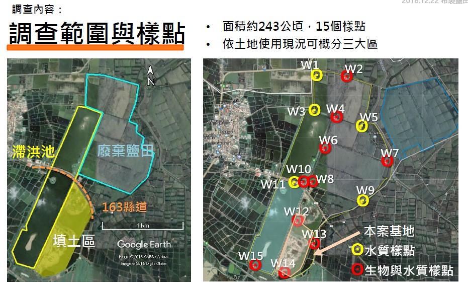 天泰能源案場位置(右圖橘框區)與環境生態調查範圍。資料來源:天泰能源簡報