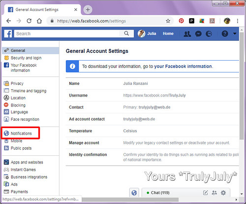 To view and amend your Facebook settings go to: https://www.facebook.com/settings