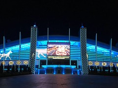 Ashgabat Olympic stadium at night