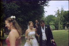 Found Photos - Unknown Bride, Groom & Pretty Bridesmaid - i have been trying to date it from the camera... late 90s?