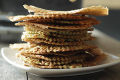 stack of crispy golden pizzelle waffles