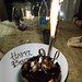 My birtday cake of chocolate and coconut mousses, chocolate glaze, almond, meringue and chocolate ganaches