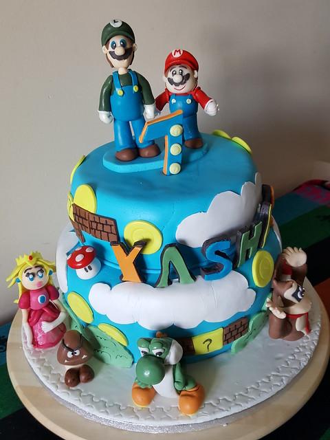Mario Theme Cake by Nithya Vasanthakumar