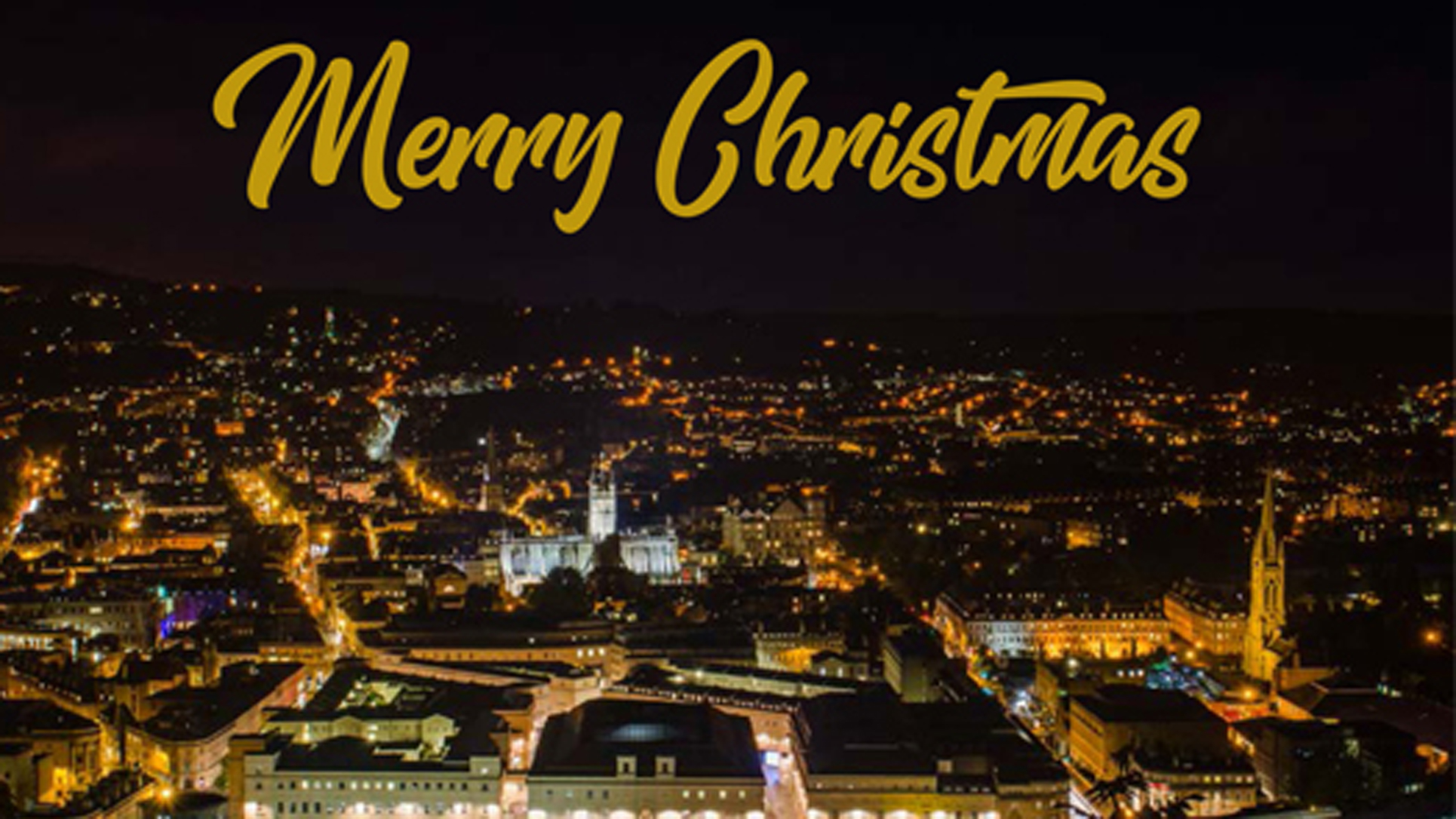 A night time shot of the city of Bath