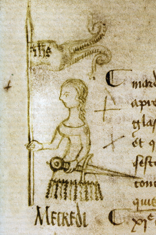 Drawing of Joan of Arc by Clément de Fauquembergue (a doodle on the margin of the protocol of the parliament of Paris, dated May 10, 1429). Currently in the French National Archives.