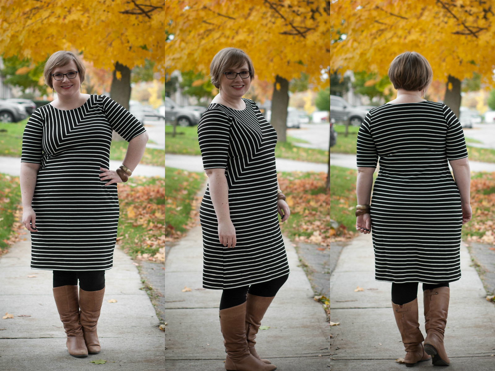 Cali Ponte Stripe Nettie dress