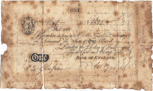 1801 Bank of England note