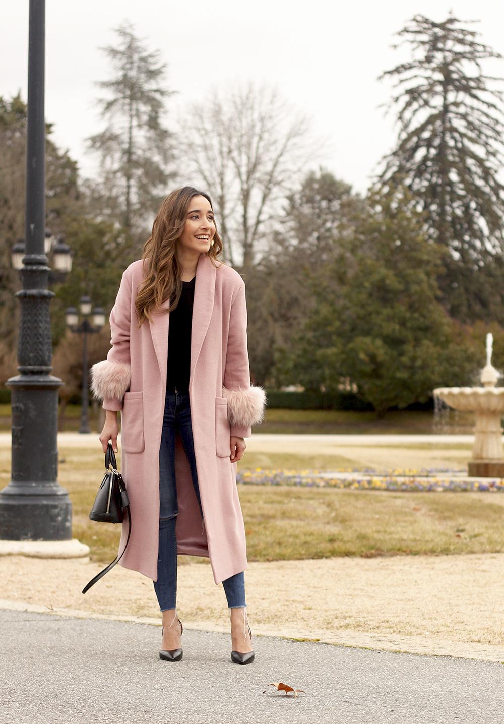 pink coat byleclair carolina herrera heels jeans louis vuitton ba street style outfit 20192