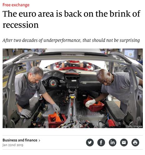19a22 Zona euro hacia la recesión