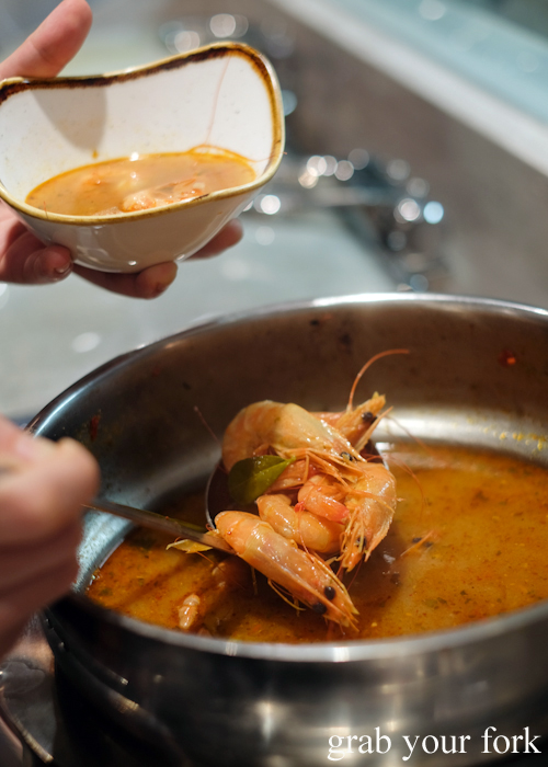 Tom yum prawns at Talay's Thai all you can eat seafood buffet at Duo Central Park in Chippendale