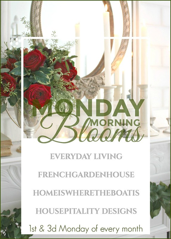 Winter-MONDAY-Morning-BLooms-FrenchGardenHouse-Antique-Mantel-with-roses
