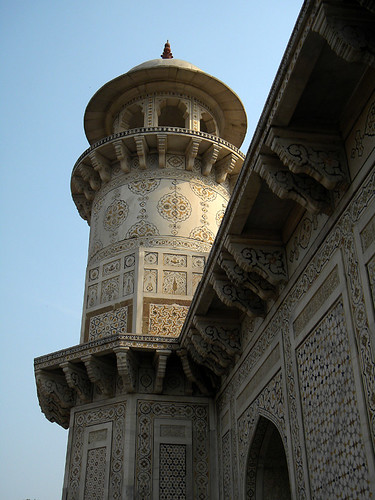 The exterior tower at the Baby Taj, aka Itimad-ud-Daulah, a Mughal structure built completely from marble containing the tomb of the Persian nobleman