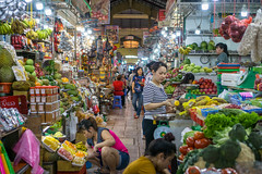 Vegetable and Fruit Section at Ben Thanh Market in Saigon