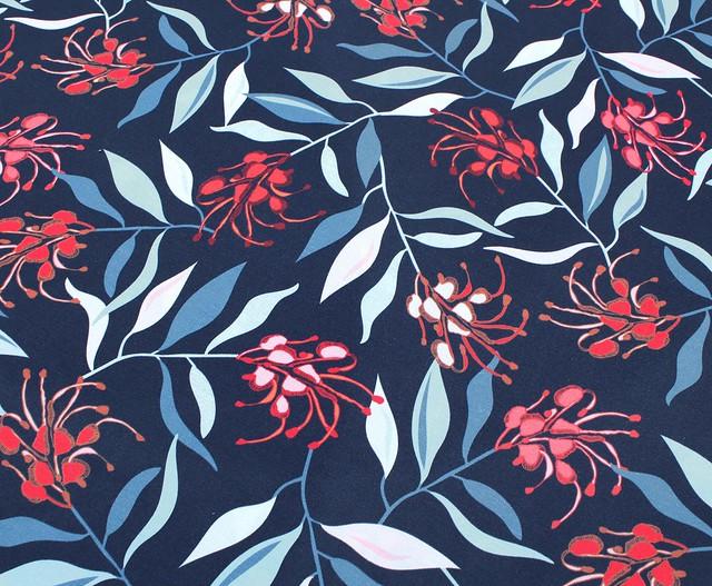 Nerida Hansen Fabrics - New Grevillea Navy by Jocelyn Proust Designs