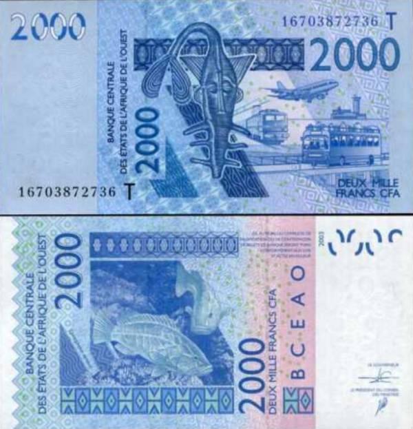 2000 Frankov Západná Afrika - Togo 2016, P816T
