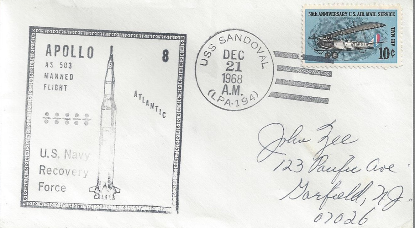 Apollo 8 launch date cover from USS Sandoval (LPA-194) in the U.S. Navy's Atlantic Recovery Force, December 21, 1968