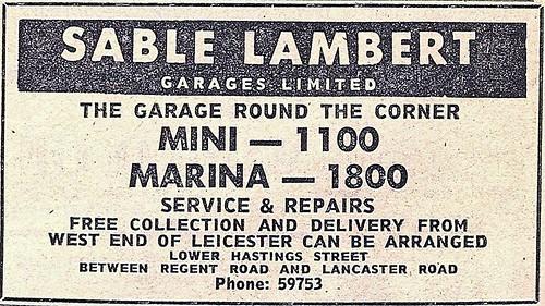 1972 ADVERT - SABLE LAMBERT GARAGES LTD LOWER HASTINGS STREET LEICESTER