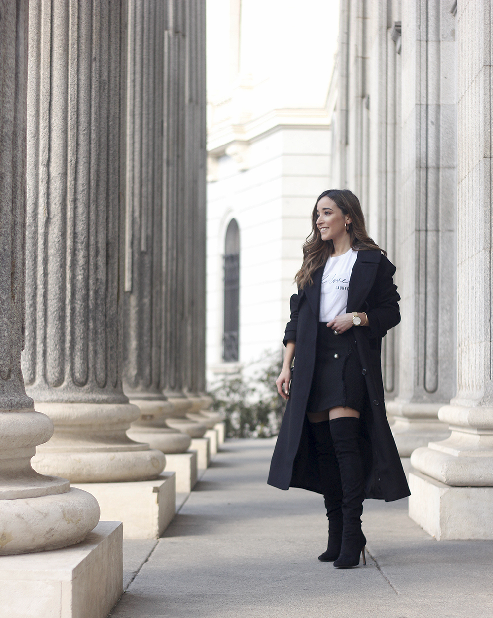 tweed skirt over the knee boots black trench coat street style outfit 20192
