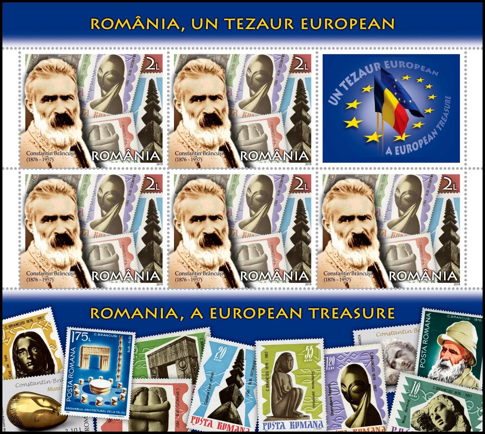 Romania - A National Treasure (January 16, 2019) design #1 sheet of 5 + label