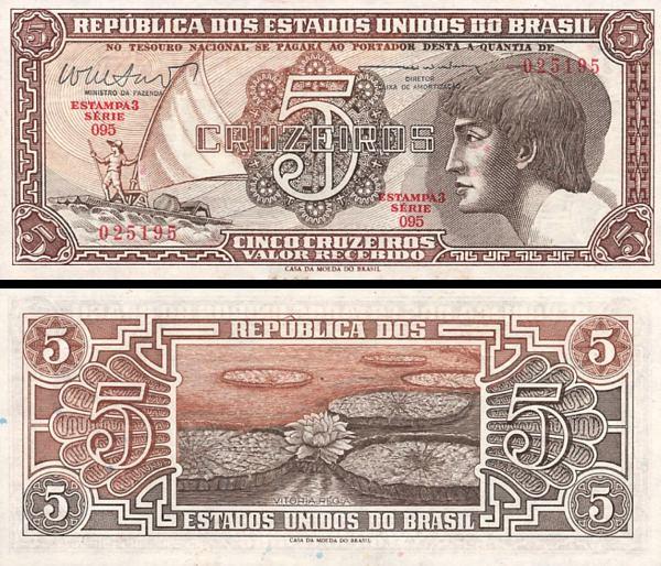5 cruzeiros Brazília 1961-62, P166b