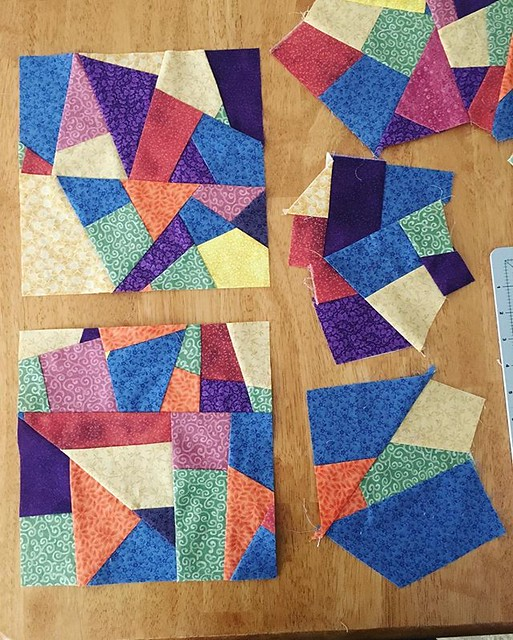 Two 9.5 inch crumb squares. Hopefully I can make eleven more for a small quilt. #quilting #crumbquilting
