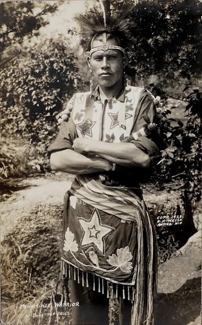 Menominee Warrior, Beartrap Falls, Wisconsin.  W. H. Wessa Photo Postcard (1928)