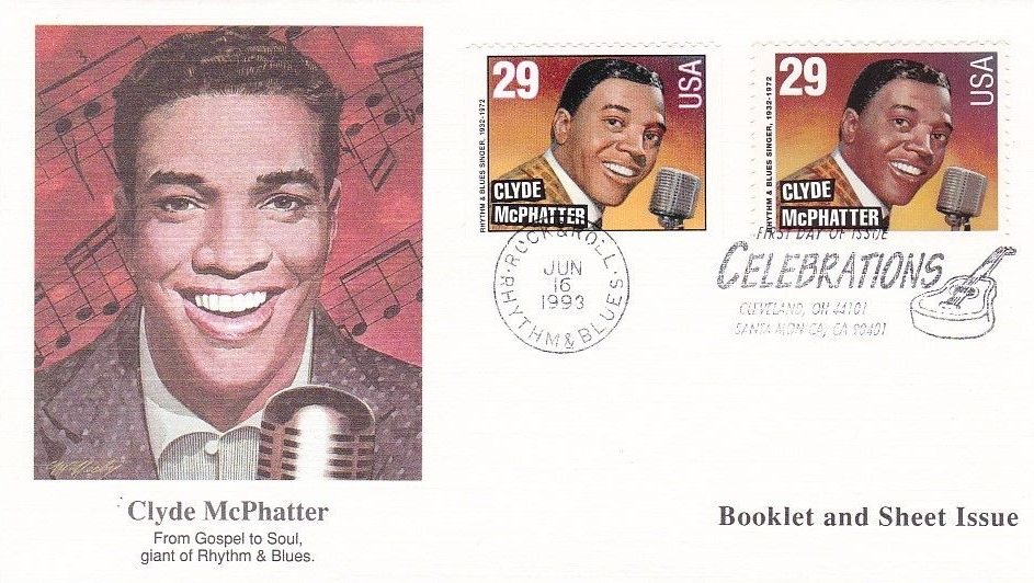 United States - Scott #2726 and Scott #2733 (1993) first day cover with booklet and sheet Clyde McPhatter stamps