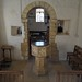 042-20180927_Great Washbourne Church-Gloucestershire-Chancel with medieval Font & Norman Chancel Arch viewed from Sanctuary
