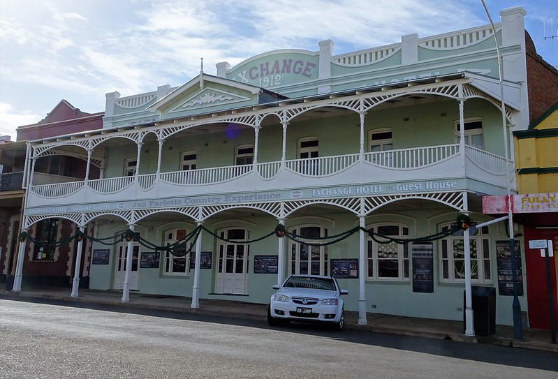 Grenfell. Main Street. The Exhchange Hotel built 1912. Beautiful Edwardian woodwork on the veranda.