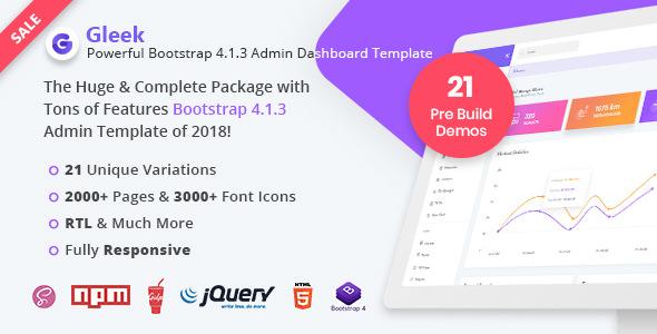 Gleek - Powerful Bootstrap 4 Admin Dashboard Template